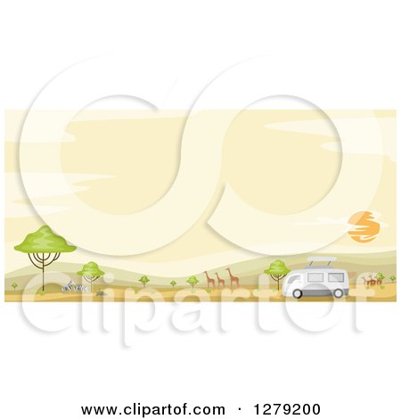 Clipart of a Safari Tour Bus with Gazelle, Giraffes and Zebras in an African Landscape at Sunset - Royalty Free Vector Illustration by BNP Design Studio