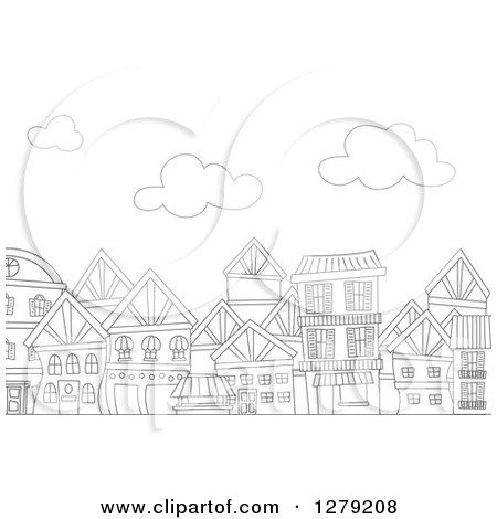 Clipart of a Black and White Row of Urban Apartment Buildings and Clouds - Royalty Free Vector Illustration by BNP Design Studio