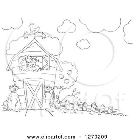 Clipart of a Black and White Barn with a Nesting Hen - Royalty Free Vector Illustration by BNP Design Studio