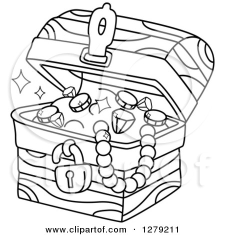 Clipart of a Black and White Treasure Chest Full of Jewels - Royalty Free Vector Illustration by BNP Design Studio