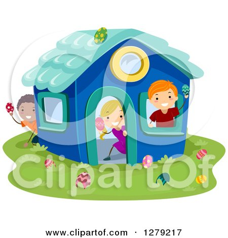 Clipart of Happy Stick Children Hunting Easter Eggs in a Play House - Royalty Free Vector Illustration by BNP Design Studio