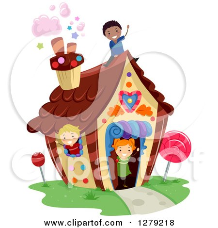 Clipart of Happy Children Playing in a Candy House - Royalty Free Vector Illustration by BNP Design Studio