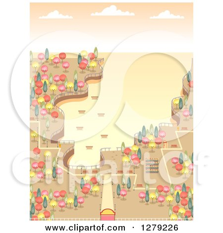 Clipart of a Costal Bay Park with Colorful Autumn Trees at Sunset - Royalty Free Vector Illustration by BNP Design Studio