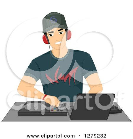 Clipart of a Handsome Young Male Disc Jockey DJ Mixing Songs at a Turntable - Royalty Free Vector Illustration by BNP Design Studio