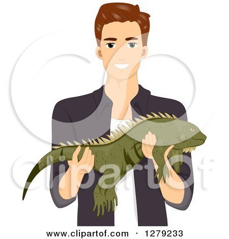 Clipart of a Brunette White Man Holding a Large Iguana Pet - Royalty Free Vector Illustration by BNP Design Studio