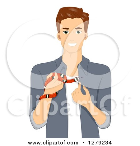 Clipart of a Brunette White Man Holding an Exotic Pet Snake - Royalty Free Vector Illustration by BNP Design Studio