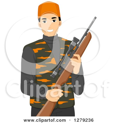 Clipart of a Handsome Young Asian Man in Hunting Gear, Holding a Rifle - Royalty Free Vector Illustration by BNP Design Studio