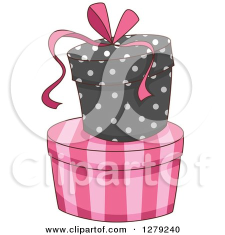 Clipart of French Themed Striped and Polka Dot Gift or Hat Boxes - Royalty Free Vector Illustration by BNP Design Studio