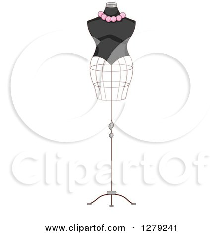Clipart of a French Fashion Themed Mannequin - Royalty Free Vector Illustration by BNP Design Studio
