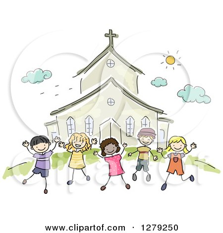 Clipart of Sketched Happy Stick Children Jumping Outside a Church - Royalty Free Vector Illustration by BNP Design Studio