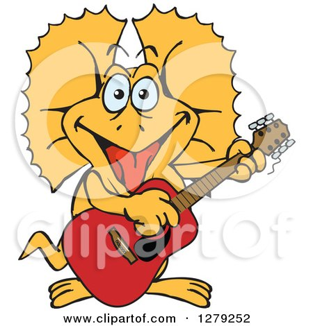 Clipart of a Happy Frill Lizard Playing an Acoustic Guitar - Royalty Free Vector Illustration by Dennis Holmes Designs