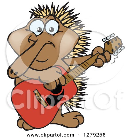Clipart of a Happy Echidna Playing an Acoustic Guitar - Royalty Free Vector Illustration by Dennis Holmes Designs