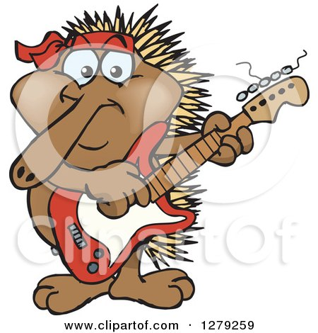 Clipart of a Happy Echidna Playing an Electric Guitar - Royalty Free Vector Illustration by Dennis Holmes Designs