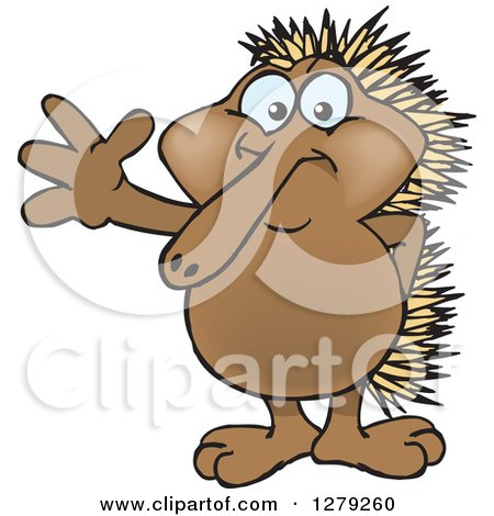Clipart of a Happy Echidna Standing and Waving - Royalty Free Vector Illustration by Dennis Holmes Designs