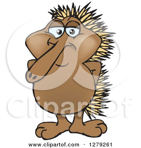 Clipart of a Happy Echidna Standing - Royalty Free Vector Illustration by Dennis Holmes Designs