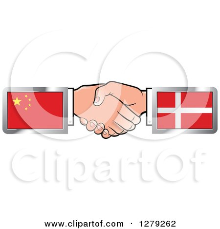 Clipart of Caucasian Hands Shaking with Chinese and Denmark Flags - Royalty Free Vector Illustration by Lal Perera