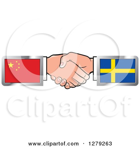 Clipart of Caucasian Hands Shaking with Chinese and Sweden Flags - Royalty Free Vector Illustration by Lal Perera