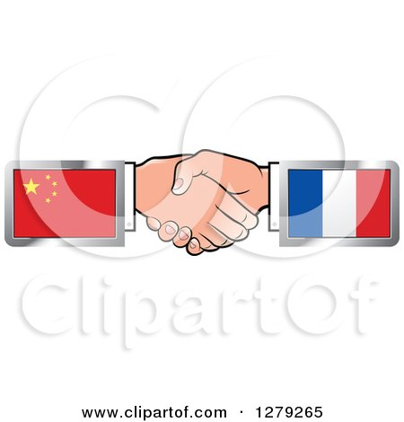 Caucasian Hands Shaking with Chinese and French Flags Posters, Art Prints