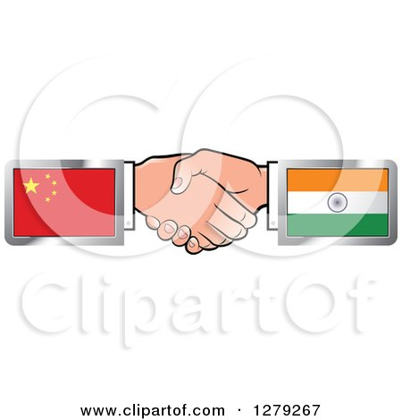 Caucasian Hands Shaking with Chinese and Indian Flags Posters, Art Prints