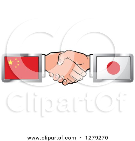 Caucasian Hands Shaking with Chinese and Japanese Flags Posters, Art Prints