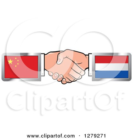 Caucasian Hands Shaking with Chinese and Netherlands Flags Posters, Art Prints
