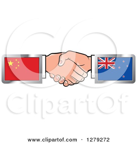 Caucasian Hands Shaking with Chinese and New Zealand Flags Posters, Art Prints