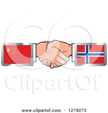 Caucasian Hands Shaking with Chinese and Norwegian Flags Posters, Art Prints