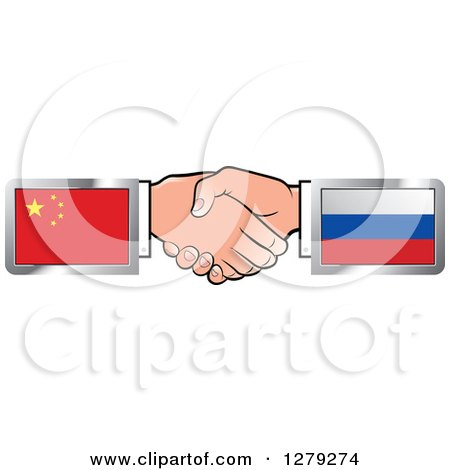 Caucasian Hands Shaking with Chinese and Russian Flags Posters, Art Prints