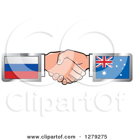 Caucasian Hands Shaking with Russian and Australian Flags Posters, Art Prints