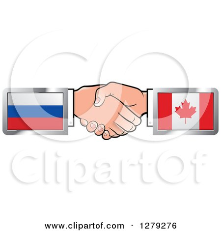 Caucasian Hands Shaking with Russian and Canadian Flags Posters, Art Prints