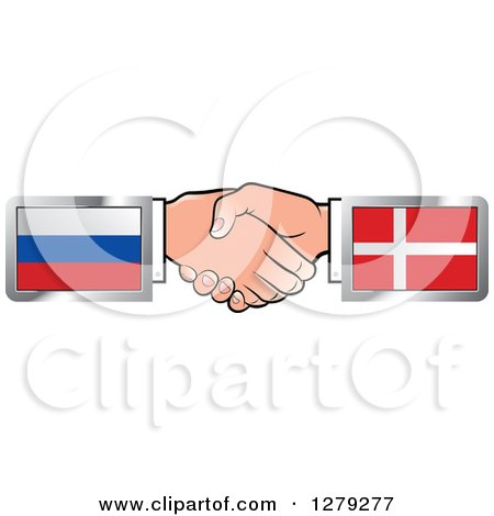 Caucasian Hands Shaking with Russian and Denmark Flags Posters, Art Prints
