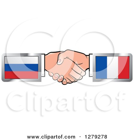Caucasian Hands Shaking with Russian and French Flags Posters, Art Prints