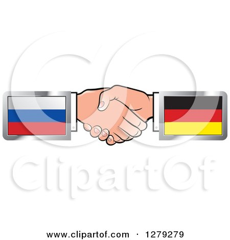 Caucasian Hands Shaking with Russian and German Flags Posters, Art Prints