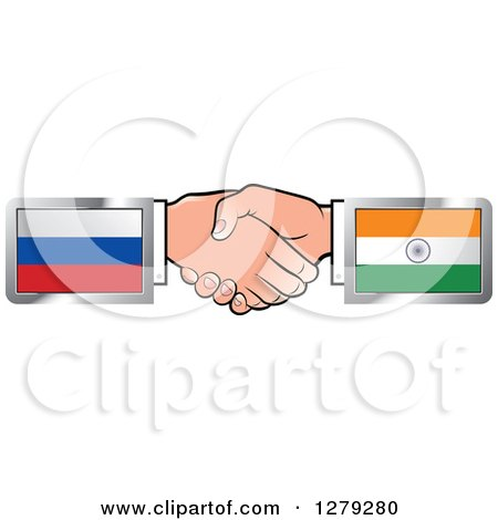 Caucasian Hands Shaking with Russian and Indian Flags Posters, Art Prints