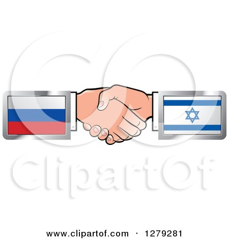 Caucasian Hands Shaking with Russian and Israeli Flags Posters, Art Prints