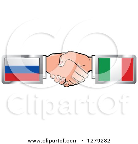 Caucasian Hands Shaking with Russian and Italian Flags Posters, Art Prints