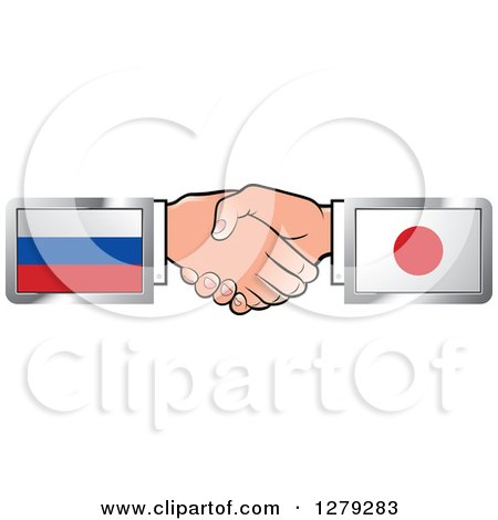 Caucasian Hands Shaking with Russian and Japanese Flags Posters, Art Prints