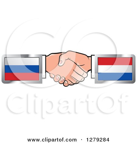 Caucasian Hands Shaking with Russian and Netherlands Flags Posters, Art Prints