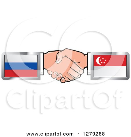 Clipart of Caucasian Hands Shaking with Russian and Singapore Flags - Royalty Free Vector Illustration by Lal Perera