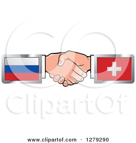 Clipart of Caucasian Hands Shaking with Russian and Switzerland Flags - Royalty Free Vector Illustration by Lal Perera
