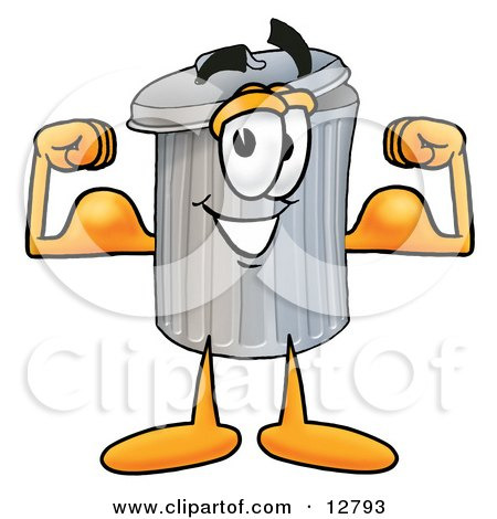 Clipart Picture of a Garbage Can Mascot Cartoon Character Flexing His Arm Muscles by Toons4Biz