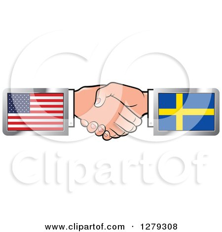 Caucasian Hands Shaking with American and Sweden Flags Posters, Art Prints
