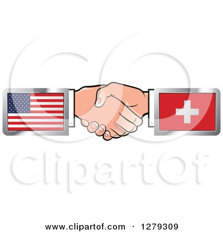 Caucasian Hands Shaking with American and Switzerland Flags Posters, Art Prints