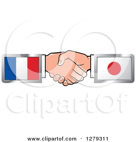 Caucasian Hands Shaking with French and Japanese Flags Posters, Art Prints