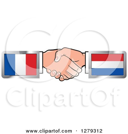 Caucasian Hands Shaking with French and Netherlands Flags Posters, Art Prints