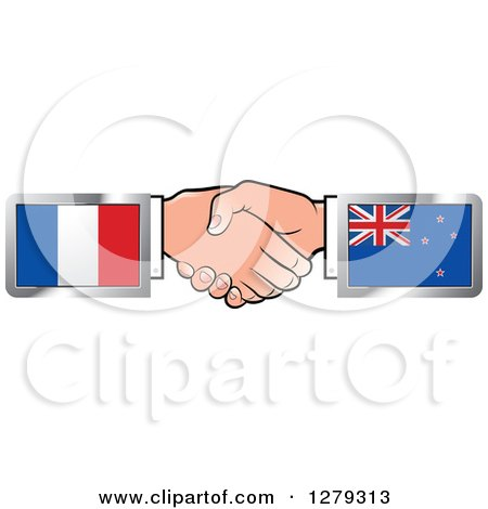 Caucasian Hands Shaking with French and New Zealand Flags Posters, Art Prints