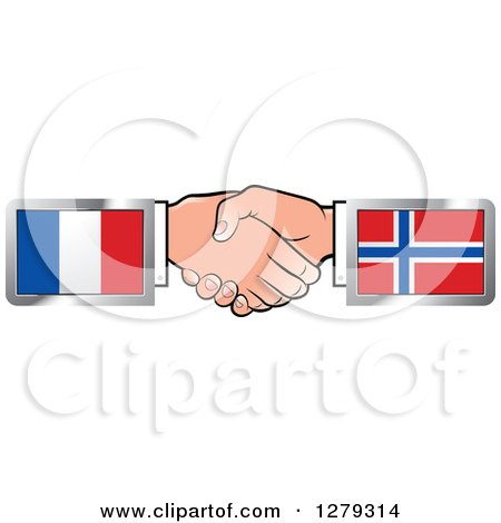 Caucasian Hands Shaking with French and Norwegian Flags Posters, Art Prints