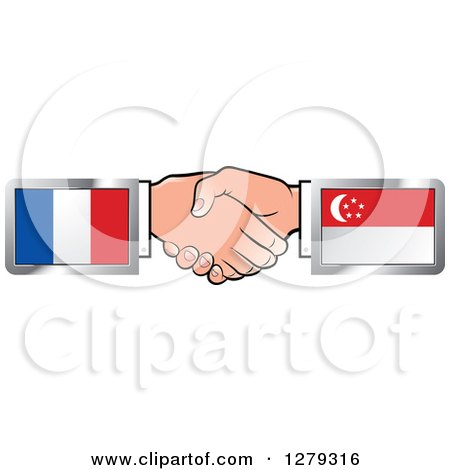 Caucasian Hands Shaking with French and Singapore Flags Posters, Art Prints