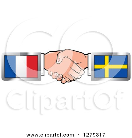 Caucasian Hands Shaking with French and Sweden Flags Posters, Art Prints