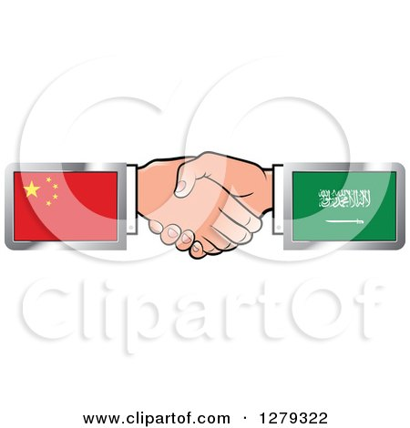 Clipart of Caucasian Hands Shaking with Chinese and Saudi Arabia Flags - Royalty Free Vector Illustration by Lal Perera